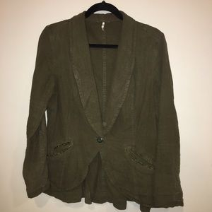 Free People Army Green Blazer